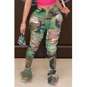 Lovely Stylish Camo Print Army Green Plus Size Jea