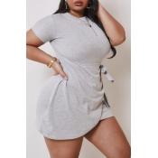 lovely Casual Asymmetrical Grey Mini Plus Size Dre