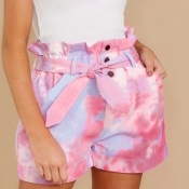 lovely Casual Tie-dye Pink Plus Size Shorts