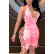lovely Sexy Tie-dye Bandage Design Pink One-piece
