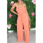 lovely Stylish Lace-up Orange One-piece Jumpsuit