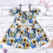 lovely Sweet Floral Print White Girl Mid Calf Dres