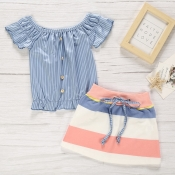 lovely Casual Striped Blue Girl Two-piece Skirt Set