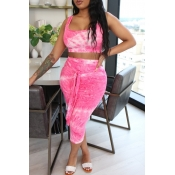 lovely Stylish Tie-dye Pink Plus Size Two-piece Sk