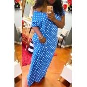 lovely Chic Dot Print Blue Maxi Dress