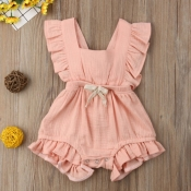 lovely Sweet Flounce Design Pink Girl One-piece Ro