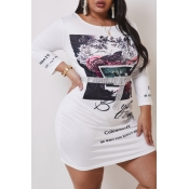 lovely Leisure Print White Knee Length Plus Size D
