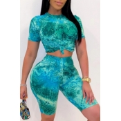 lovely Stylish Tie-dye Green Plus Size Two-piece S