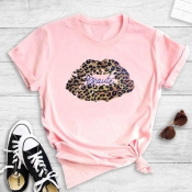 lovely Street Lip Print Pink T-shirt