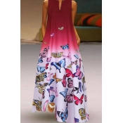 lovely Casual Butterfly Print Rose Red Maxi Plus S