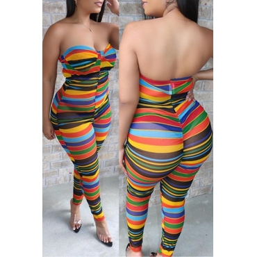 Lovely Trendy Dew Shoulder Striped Multicolor One-piece Jumpsuit