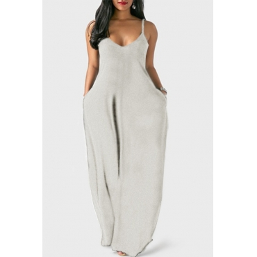 Lovely Leisure Pocket Patched GreyMaxi Plus Size Dress