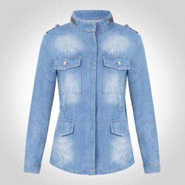 Lovely Trendy Pocket Patched Blue Plus Size Jacket