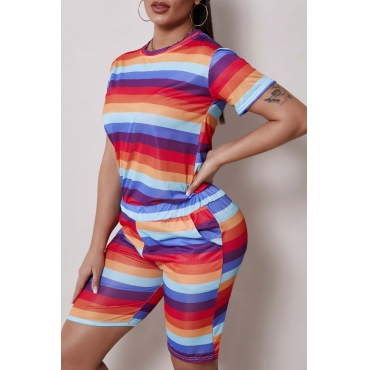 Lovely Sportswear Rainbow Striped Multicolor Two-piece Shorts Set