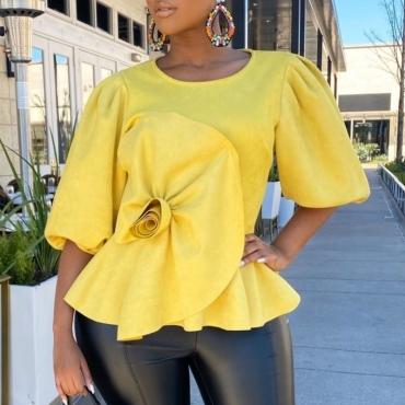 Lovely Trendy Fold Design Yellow Plus Size T-shirt