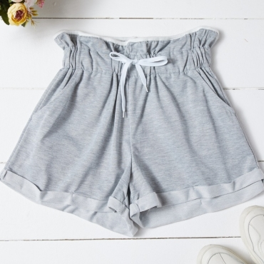 Lovely Casual Lace-up Grey Shorts