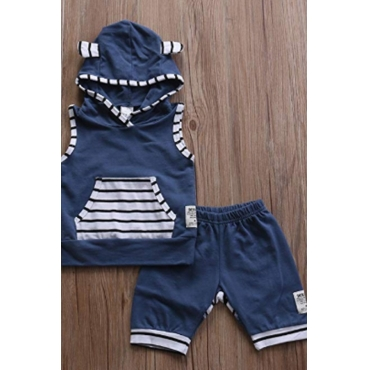 Lovely Casual Patchwork Blue Boy Two-piece Shorts Set