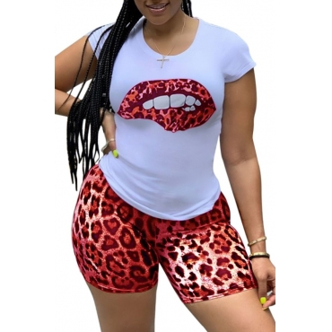 Lovely Casual Lip Print Red Plus Size Two-piece Shorts Set