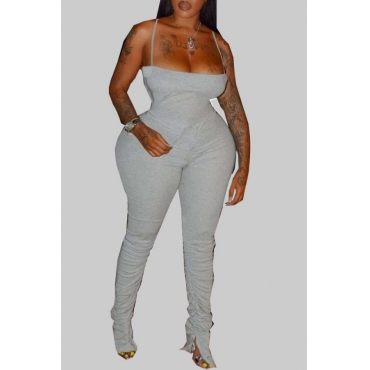 Lovely Sexy Fold Design Grey Plus Size One-piece Jumpsuit