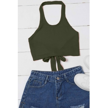 Lovely Casual Lace-up Army GreenCamisole