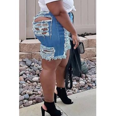 Lovely Trendy Broken Holes Blue Plus Size Shorts