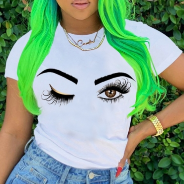Lovely Casual O Neck Eye Print White T-shirt