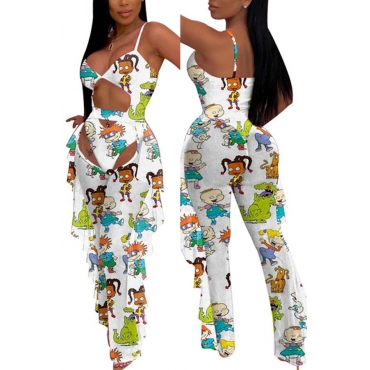 Lovely Cartoon Print White One-piece Swimsuit(With Pants)