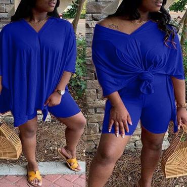 Lovely Leisure V Neck Basic Blue Plus Size Two-piece Shorts Set