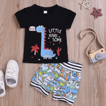 Lovely Casual Cartoon Print Black Boy Two-piece Shorts Set