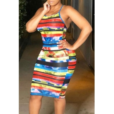 Lovely Stylish Print Multicolor Knee Length Dress
