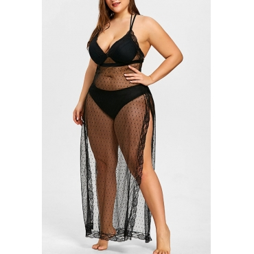 Lovely Sexy See-through Black Plus Size Babydolls