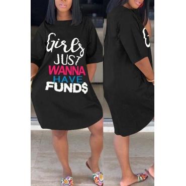 Lovely Casual Letter Black Knee Length Plus Size Dress
