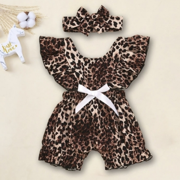 Lovely Stylish Leopard Print Brown Girl One-piece Jumpsuit