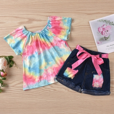 Lovely Stylish Tie-dye Multicolor Girl Two-piece Shorts Set