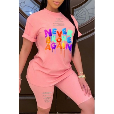 Lovely Leisure O Neck Letter Print Pink Two-piece Shorts Set