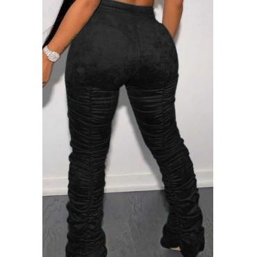 Lovely Trendy Fold Design Black Pants