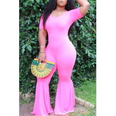 Lovely Leisure Skinny Pink Plus Size One-piece Jumpsuit