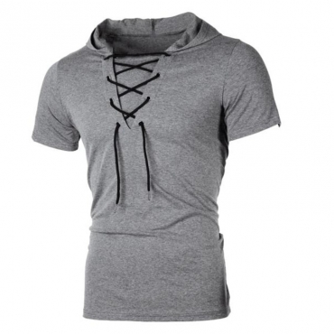 Lovely Casual Bandage Design Dark Grey Hoodie