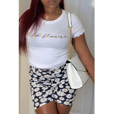 Lovely Leisure Print White Two-piece Shorts Set