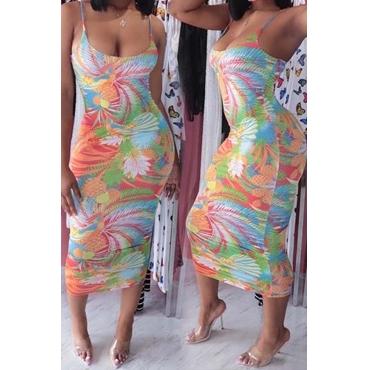Lovely Bohemian Tie-dye Multicolor Mid Calf Dress