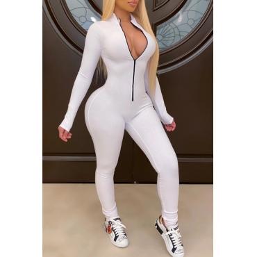 lovely Stylish Zipper Design White One-piece Jumpsuit