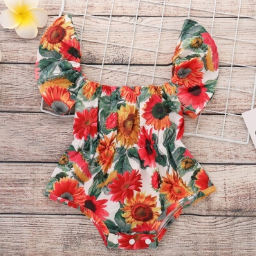 lovely Sweet Sunflower Print Multicolor Girl One-piece Romper