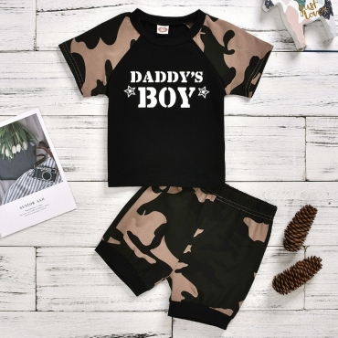 Lovely Casual Letter Print Black Boy Two-piece Shorts Set
