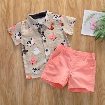 lovely Trendy Cartoon Print Pink Boy Two-piece Shorts Set