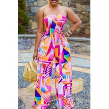 lovely Trendy Dew Shoulder Print Multicolor One-piece Jumpsuit