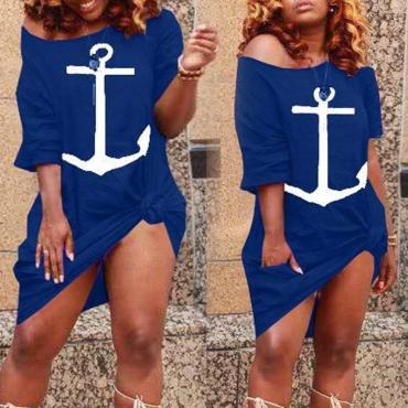 lovely Leisure O Neck Print Blue Knee Length Dress