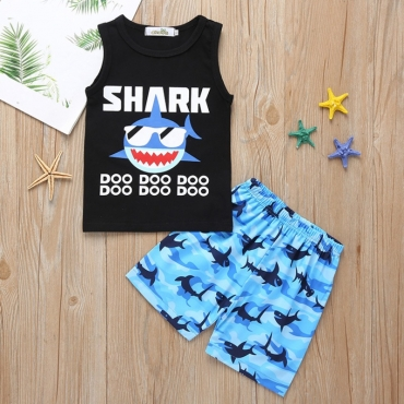 lovely Casual Print Black Boy Two-piece Shorts Set