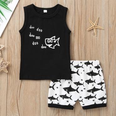 lovely Sportswear Print Black Boy Two-piece Shorts Set