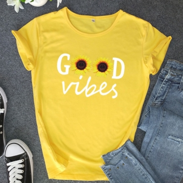 lovely Casual O Neck Print Yellow Plus Size T-shirt
