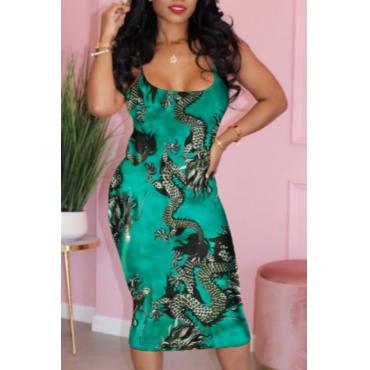 lovely Trendy Print Green Mid Calf Dress